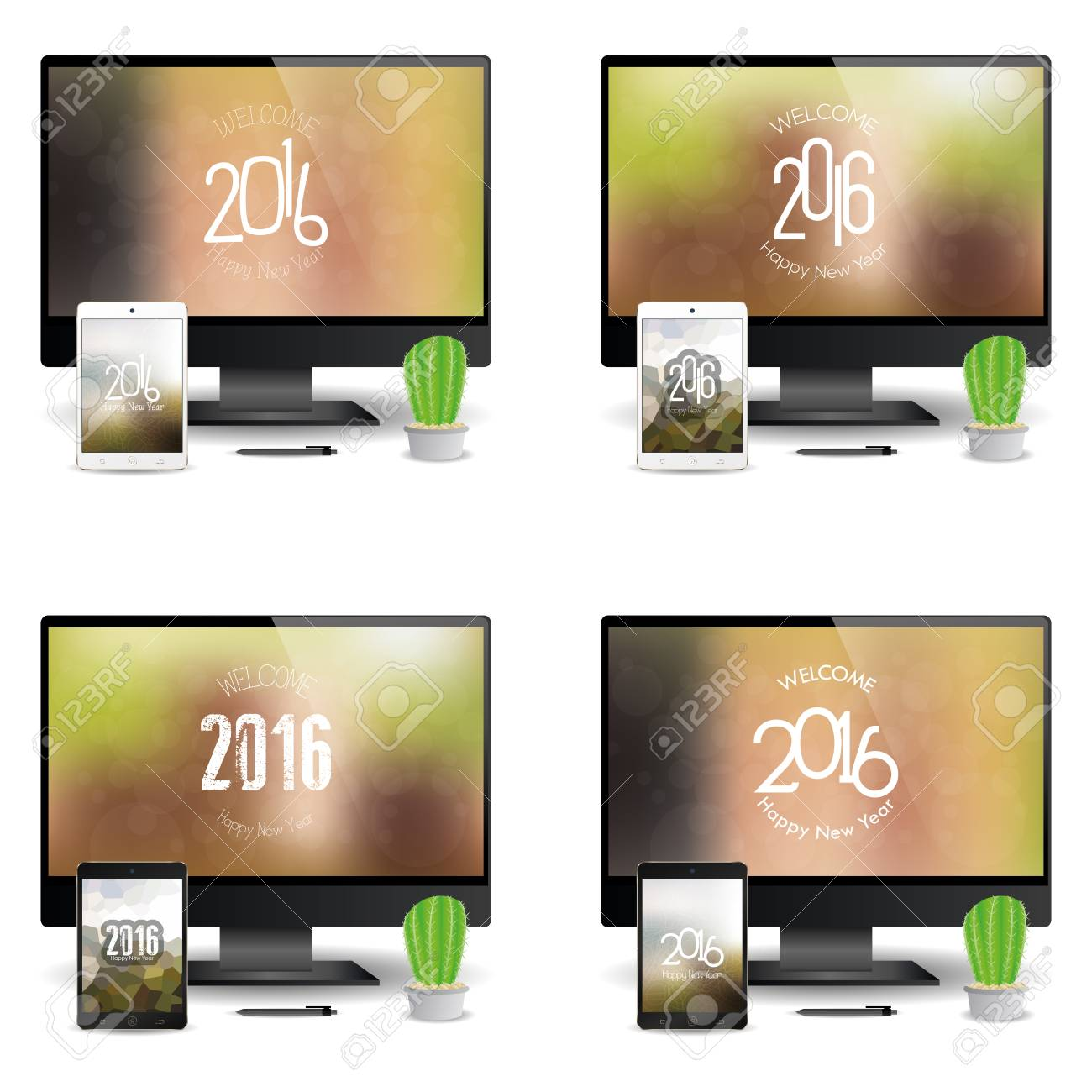 set of cellphones and computer screens with new year screensavers stock vector 51758950