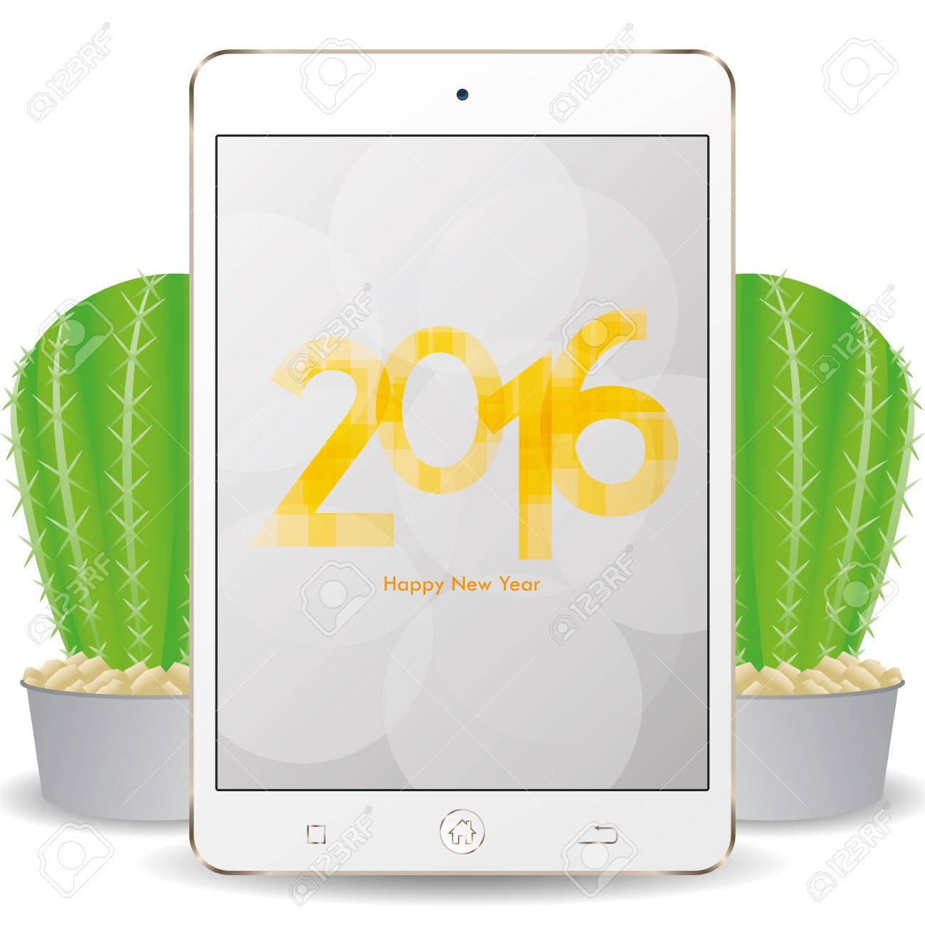 isolated cellphone with a pair of cactus and a new year screensaver stock vector 51758970