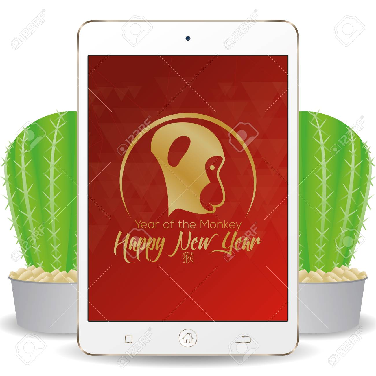 isolated cellphone with a chinese new year screensaver stock vector 51758977