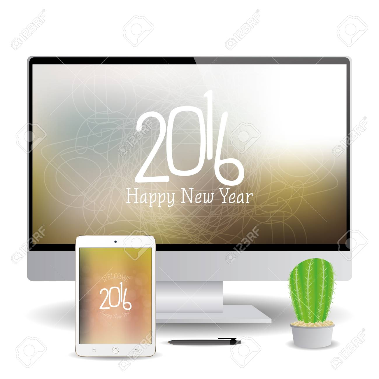isolated cellphone and a computer screen with new year screensavers stock vector 51759181