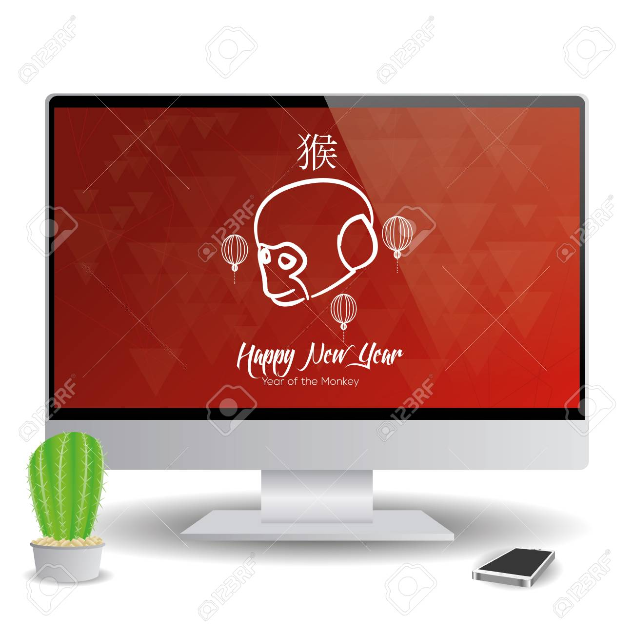 isolated computer screen with a chinese new year screensaver stock vector 51759211
