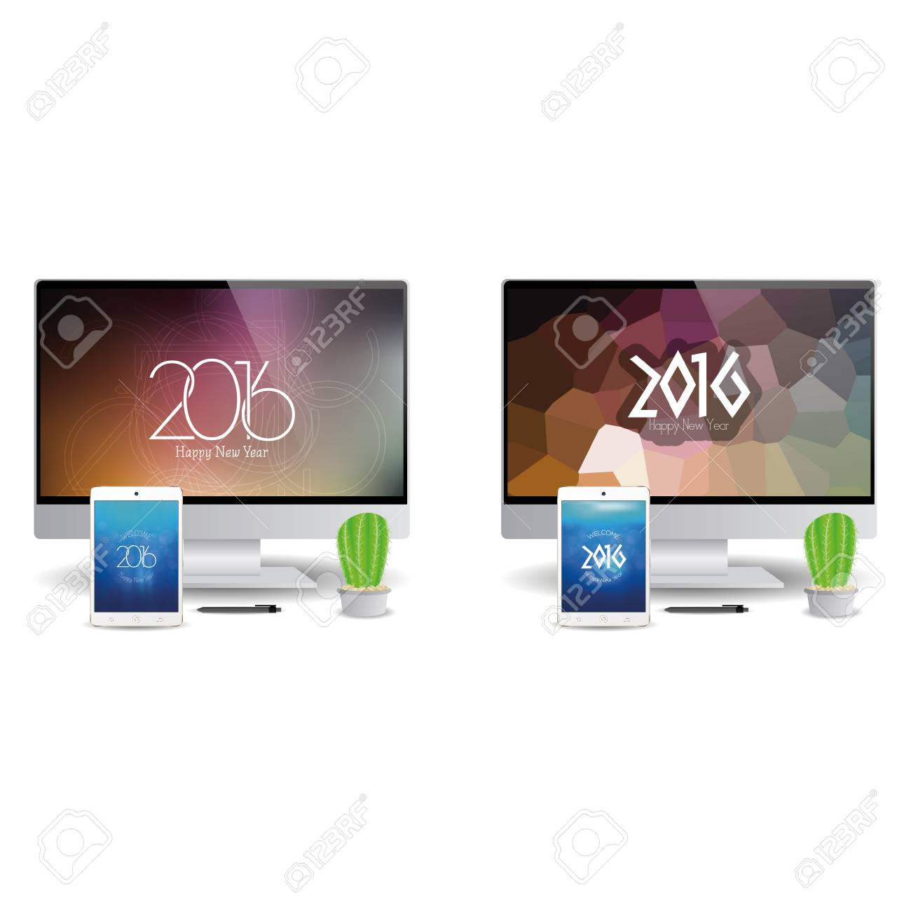 pair of cellphones and computer screens with new year screensavers stock vector 51759271