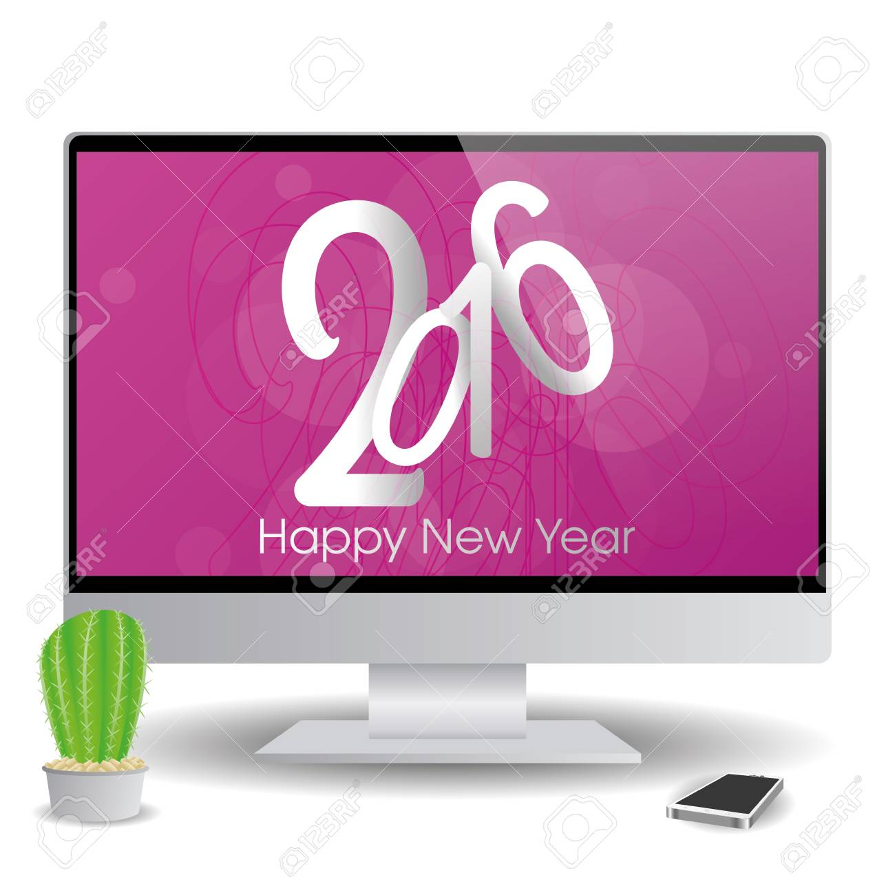 isolatedand computer screen with a new year screensaver stock vector 51759314
