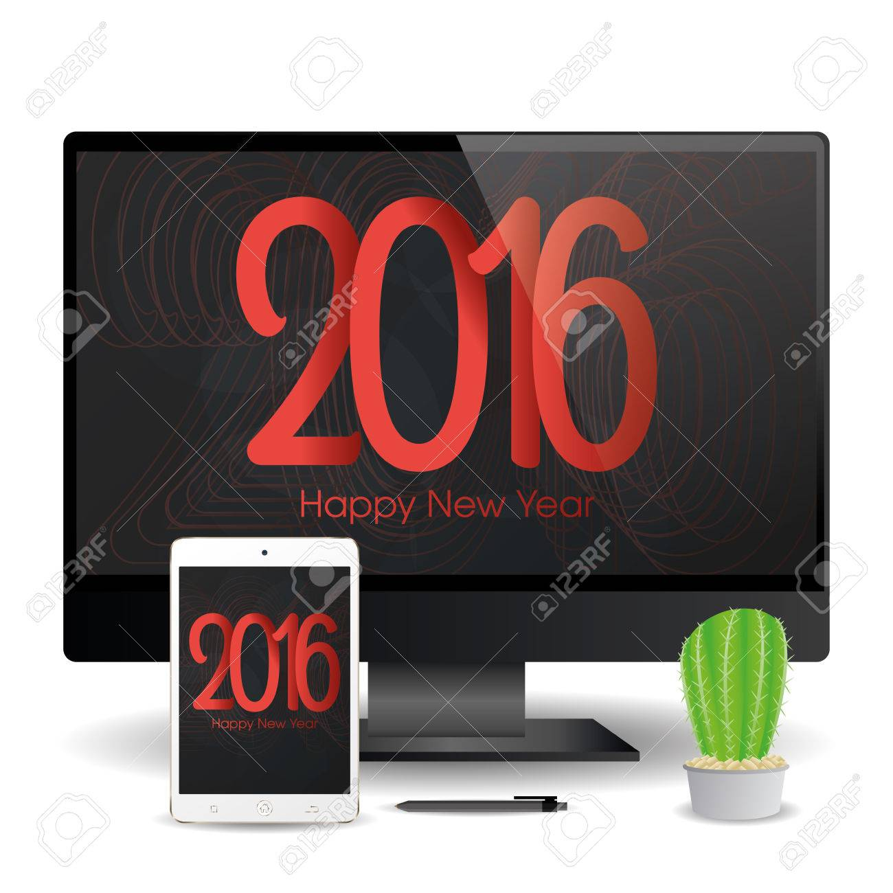 a cellphone and a computer screen with new year screensavers stock vector 51759338