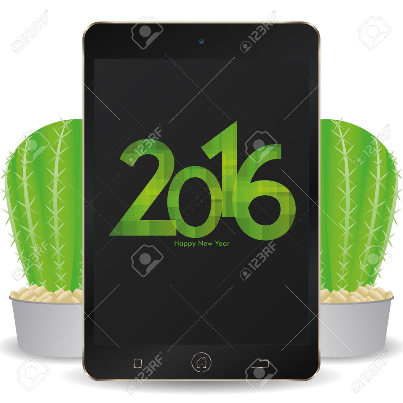 isolated cellphone with a pair of cactus and a new year screensaver stock vector 51759389