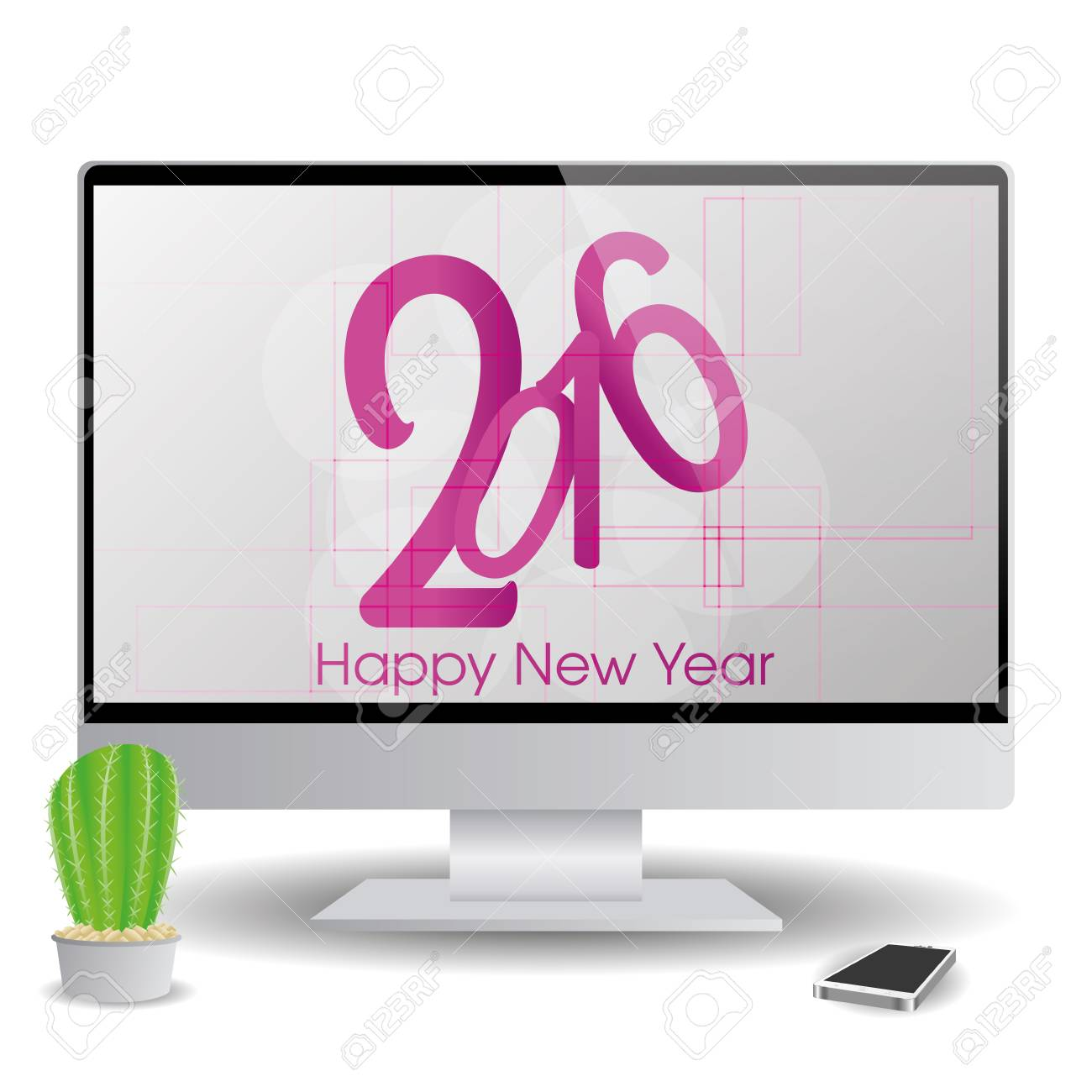isolatedand computer screen with a new year screensaver stock vector 51759442