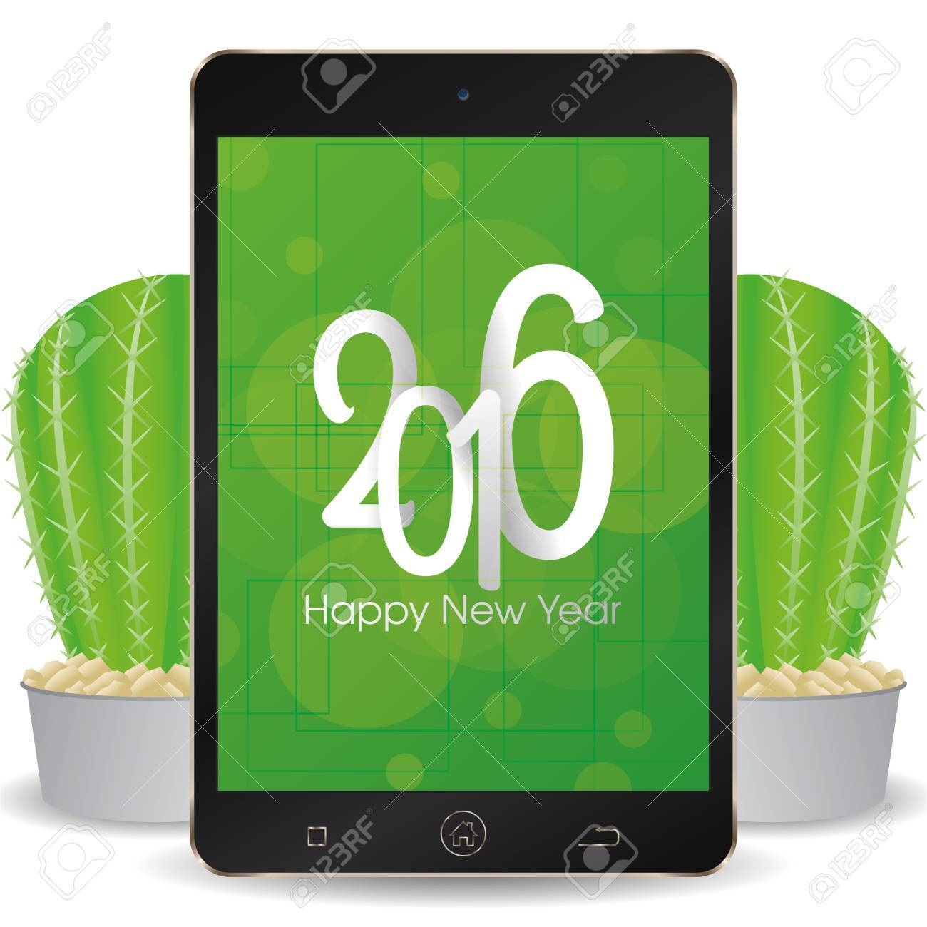 isolated cellphone with a pair of cactus and a new year screensaver stock vector 51759479