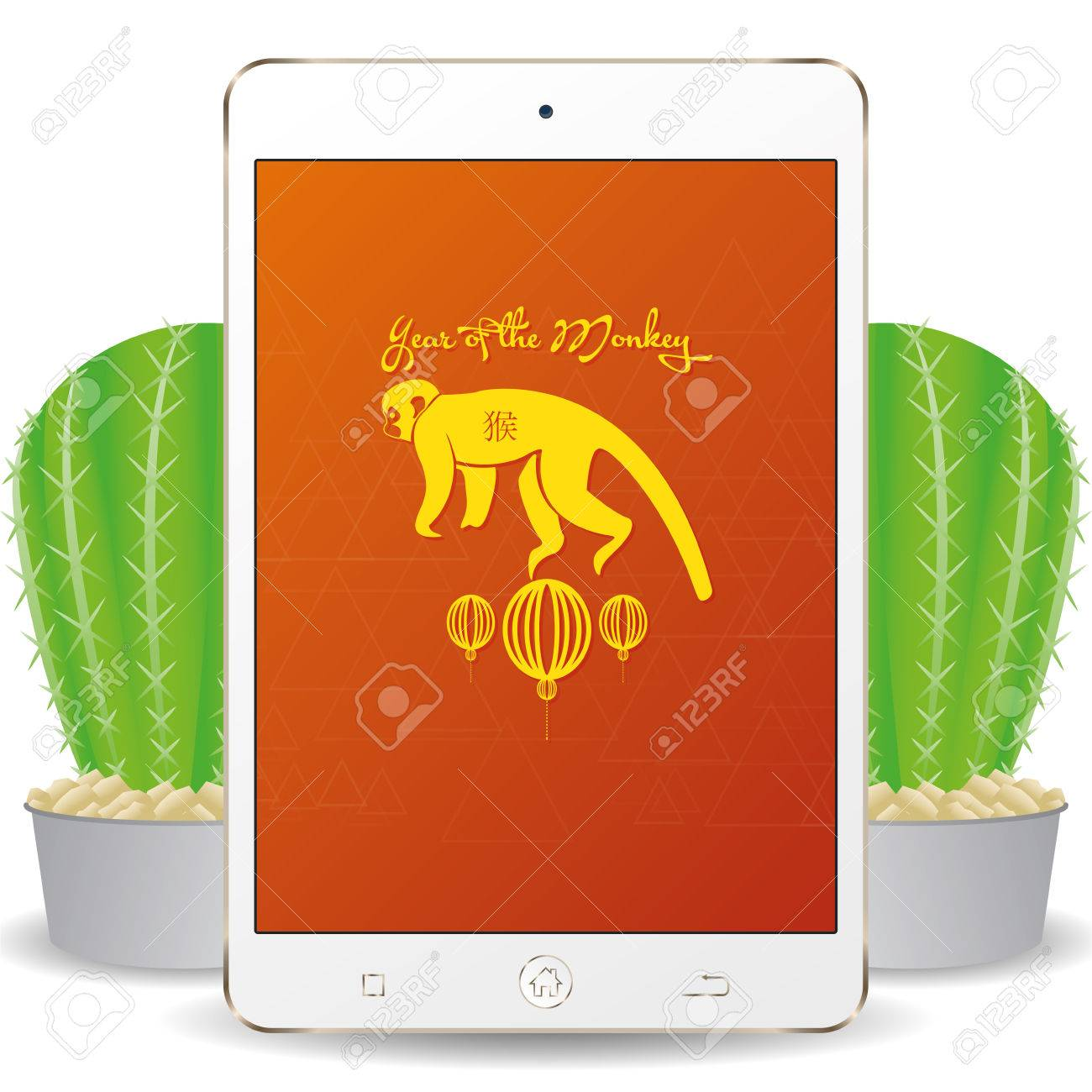 isolated cellphone with a chinese new year screensaver stock vector 51759647