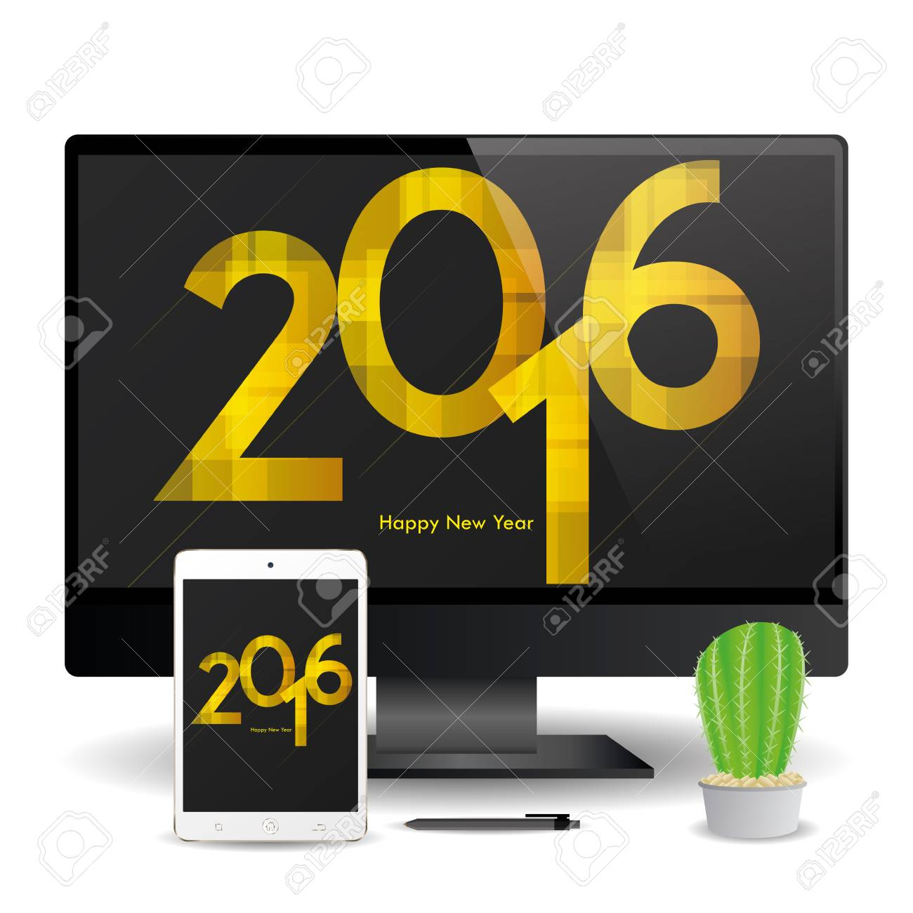 a cellphone and a computer screen with new year screensavers stock vector 51759686