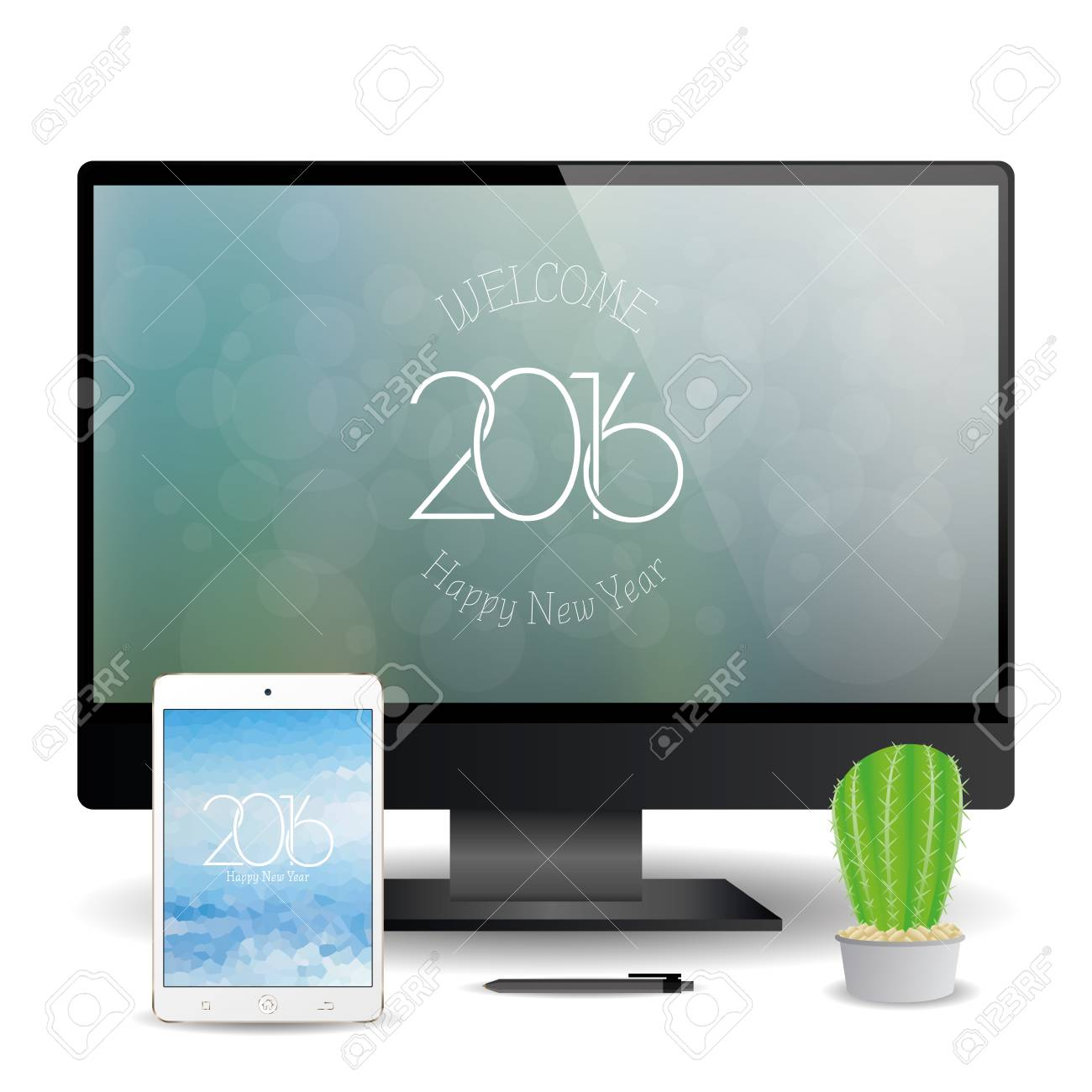 a cellphone and a computer screen with new year screensavers stock vector 51759702