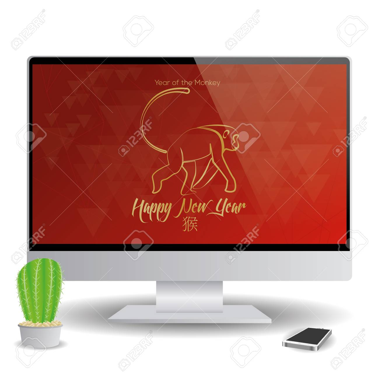 isolated computer screen with a chinese new year screensaver stock vector 51759711