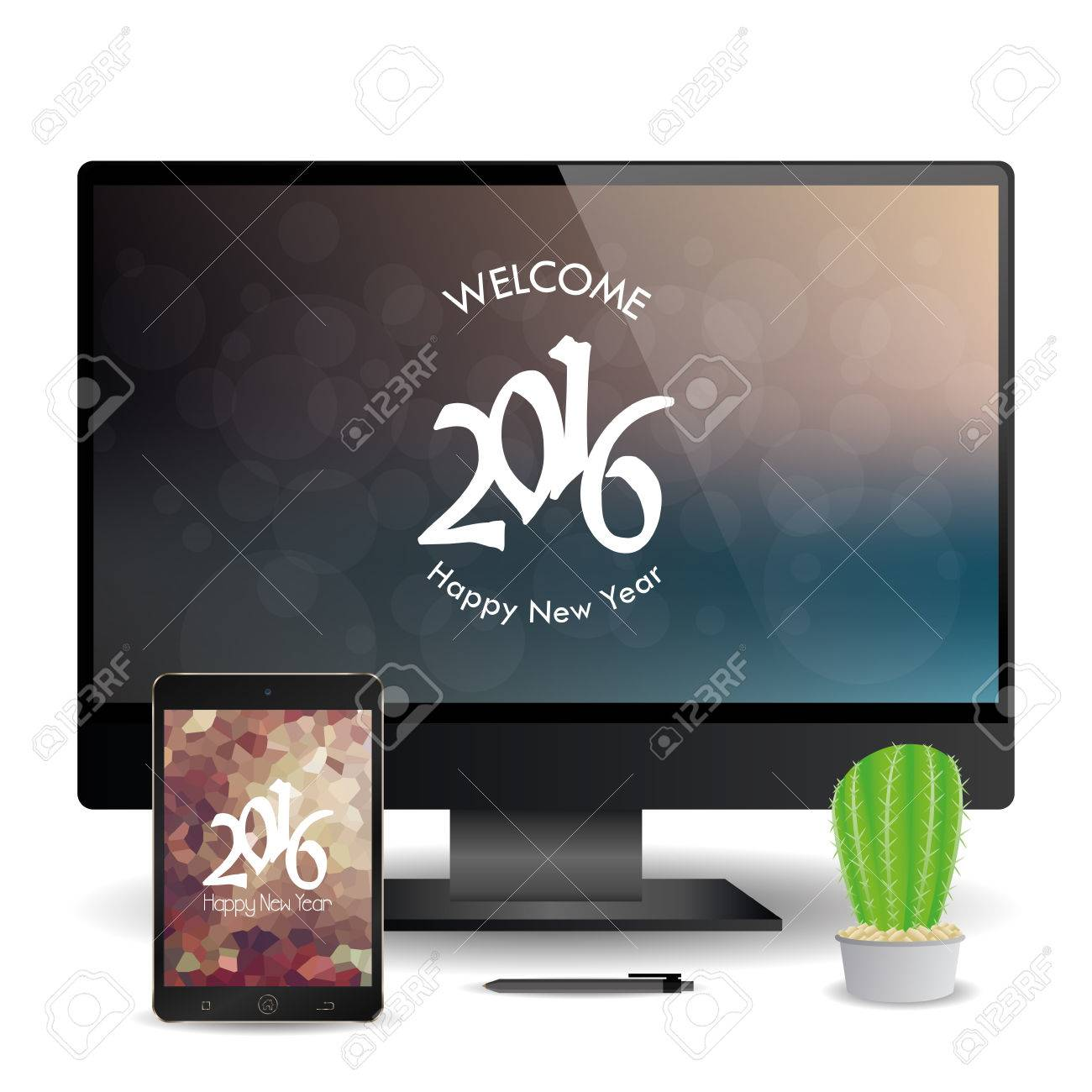 a cellphone and a computer screen with new year screensavers stock vector 51759774