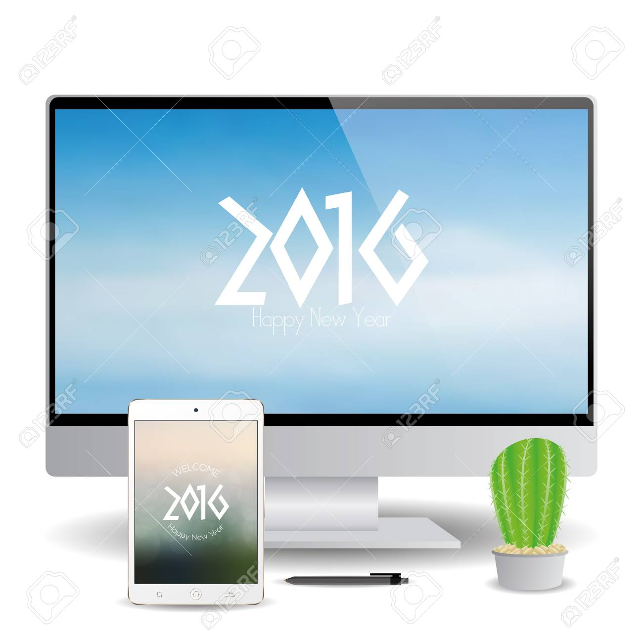 isolated cellphone and a computer screen with new year screensavers stock vector 51759777
