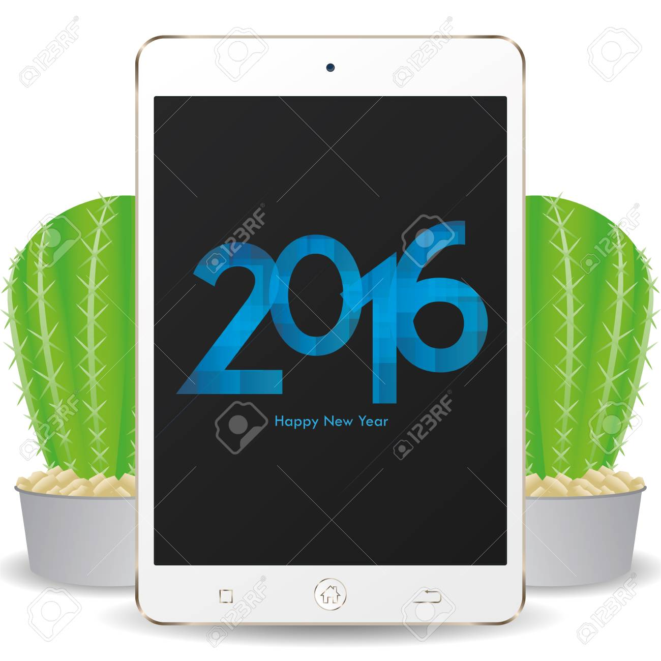 isolated cellphone with a pair of cactus and a new year screensaver stock vector 51759784