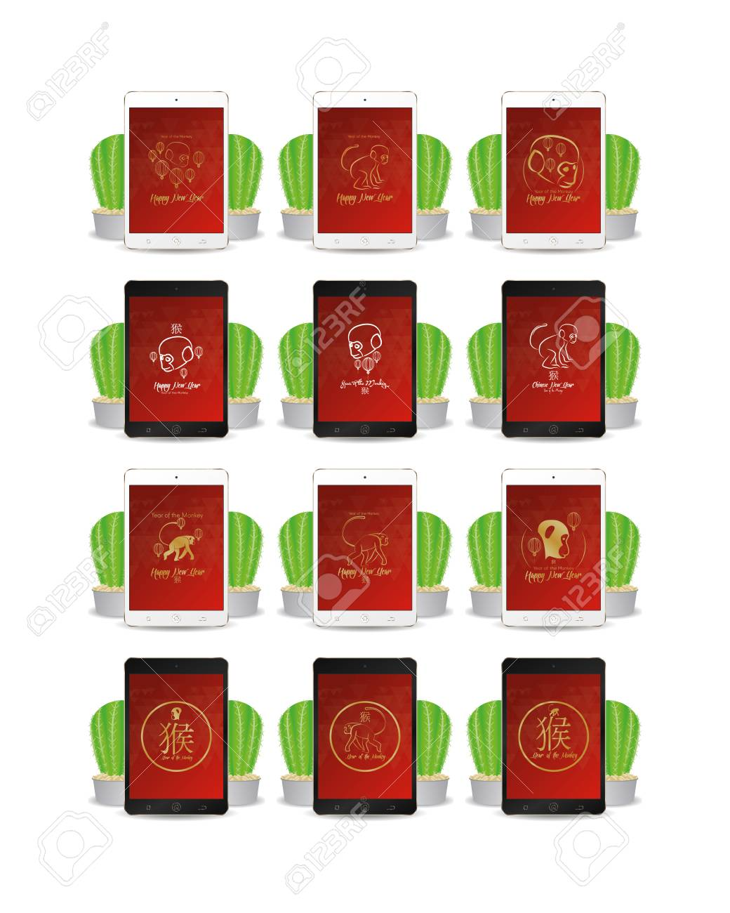 set of cellphones with chinese new year screensavers stock vector 54246464