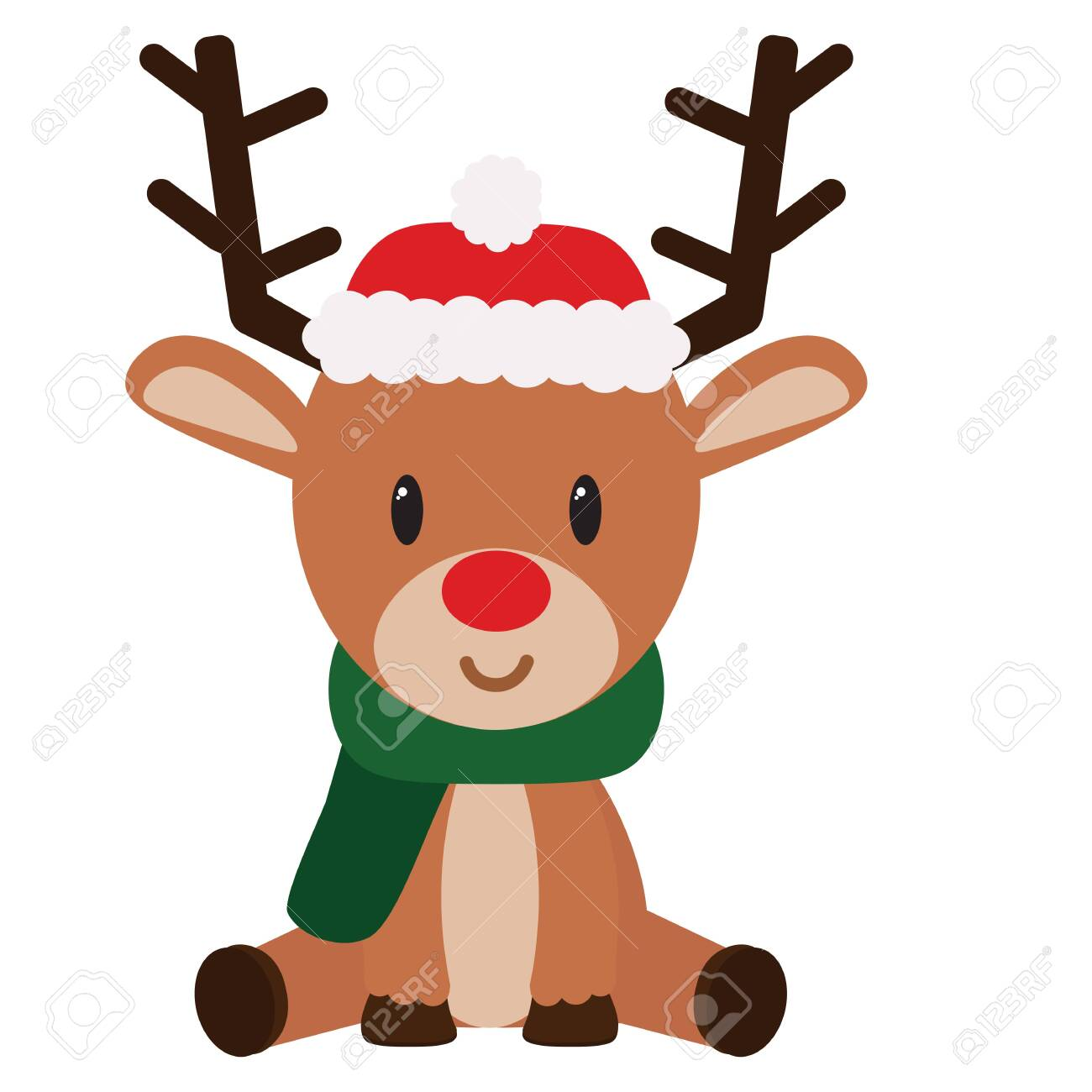 isolated Cartoon cute reindeer sit christmas- Vector - 153150376