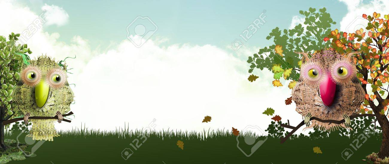 sweet forest banner with birds in fall Stock Photo - 10798597