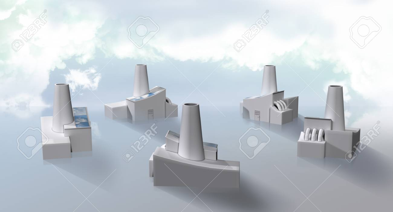 factories with solarpanels working as a green tech cluster Stock Photo - 10798598