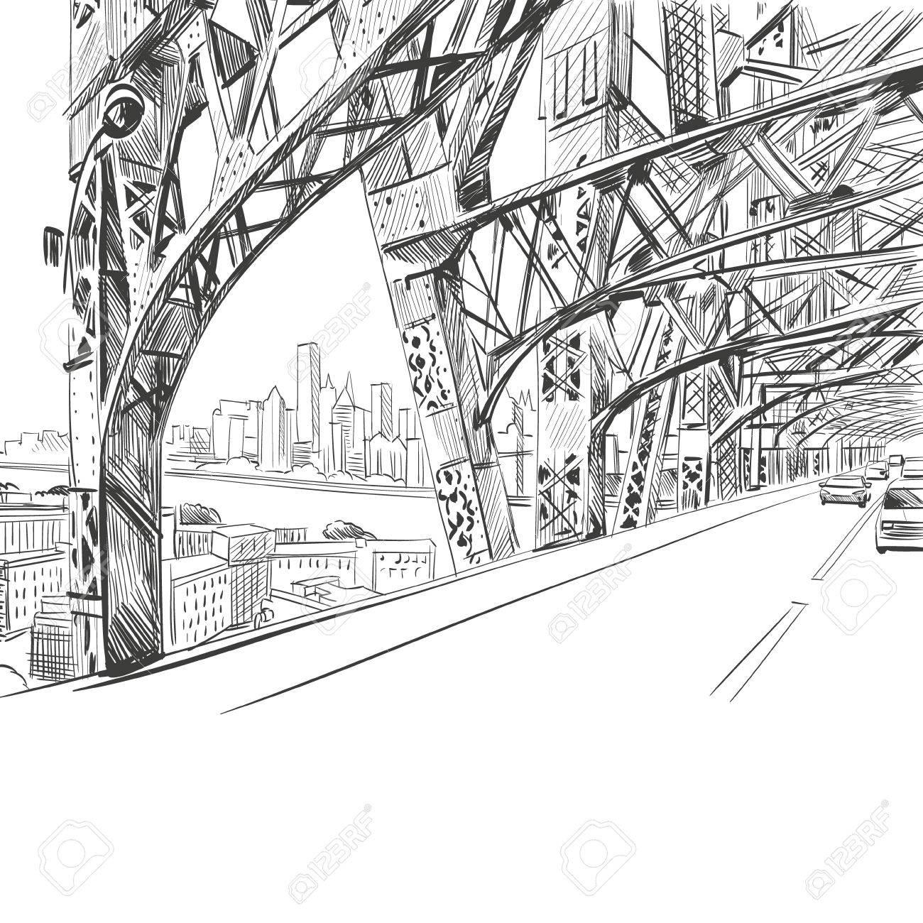Bridge hand drawn, vector illustration - 34073236