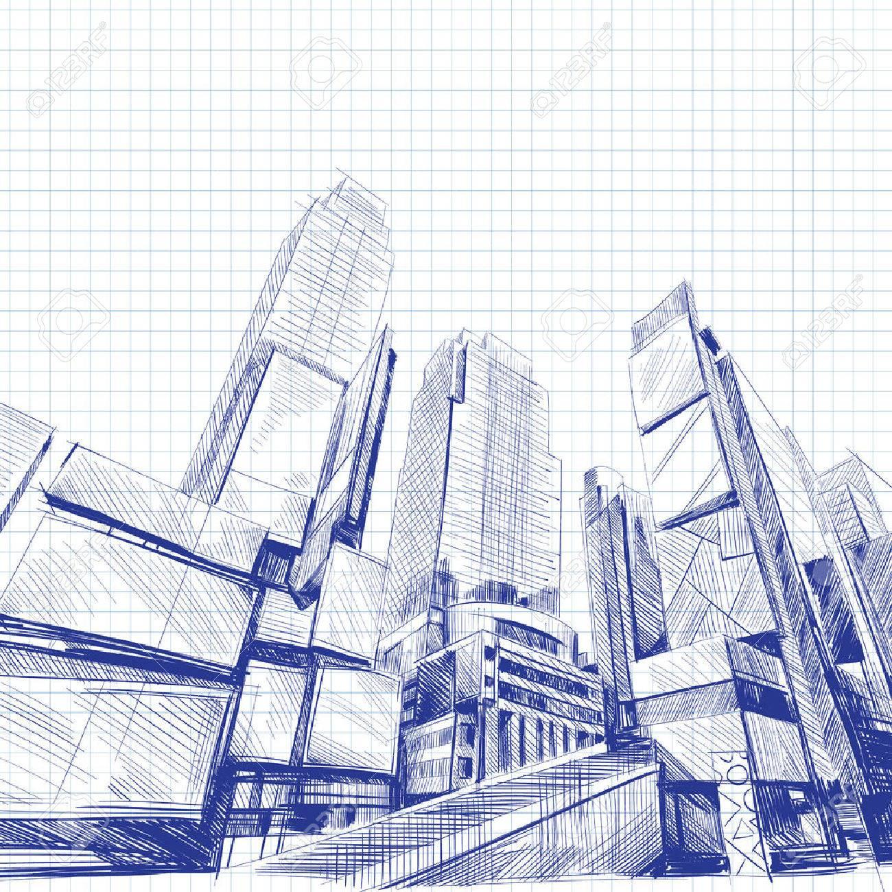 Office building hand drawn, vector illustration - 34177802