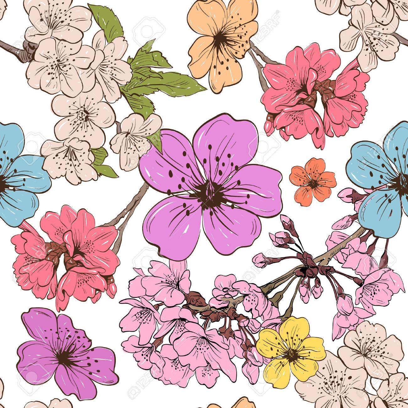 アップル花飾りパターンの背景ベクトル イラストのイラスト素材