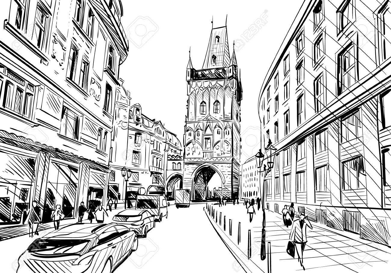 prague city sketch european city illustration royalty free