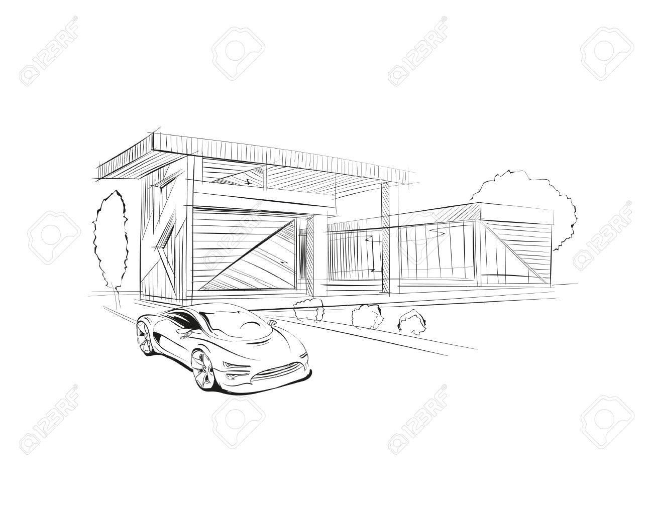 Hand Drawn Cottage House Sketch Design Vector Illustration