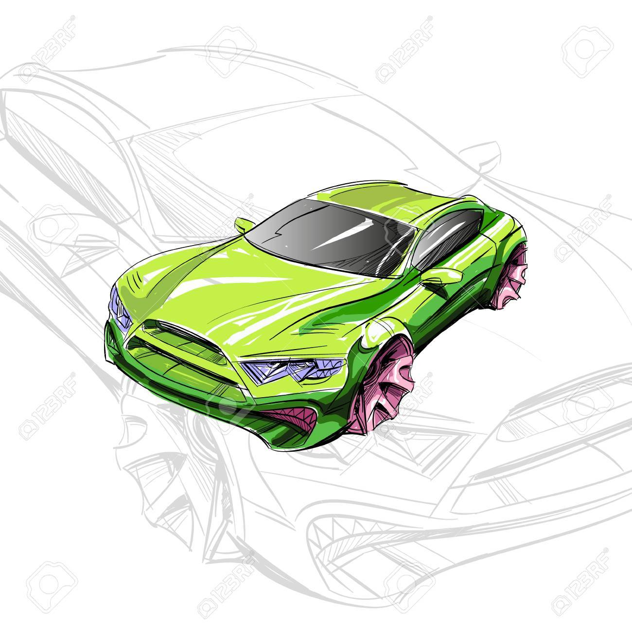 Car Concept. Car Sketch. Vector Hand Drawn. Autodesign. Automobile ...