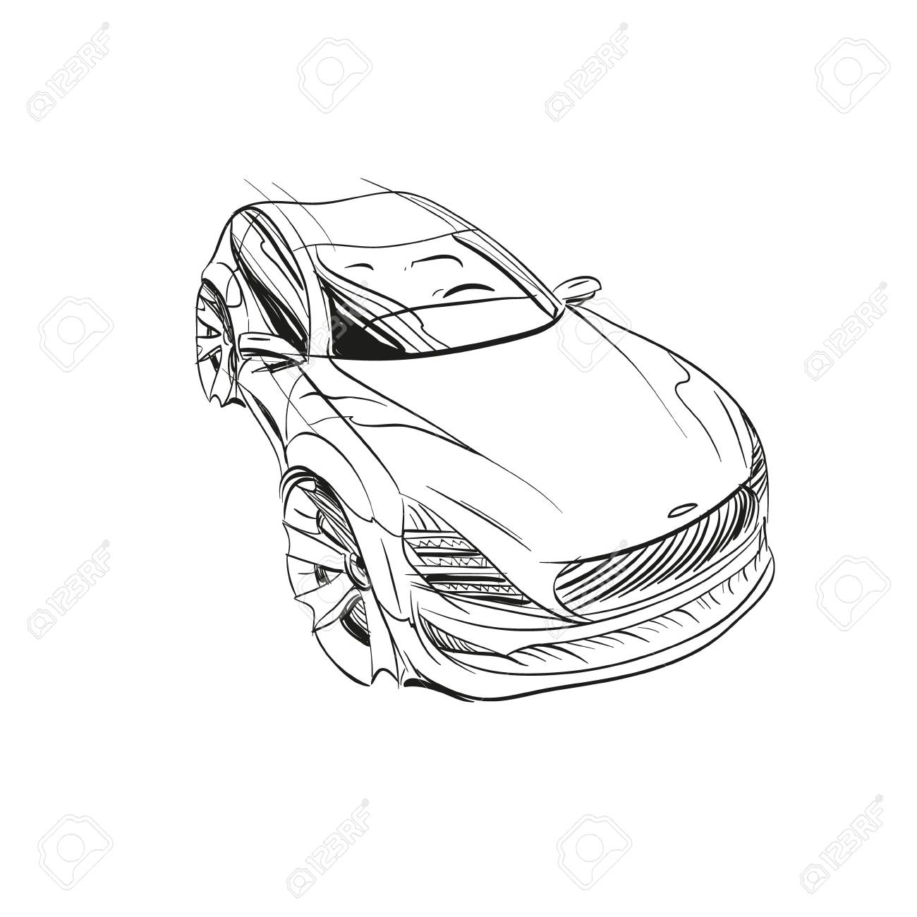 Car Concept Car Sketch Vector Hand Drawn Autodesign Automobile