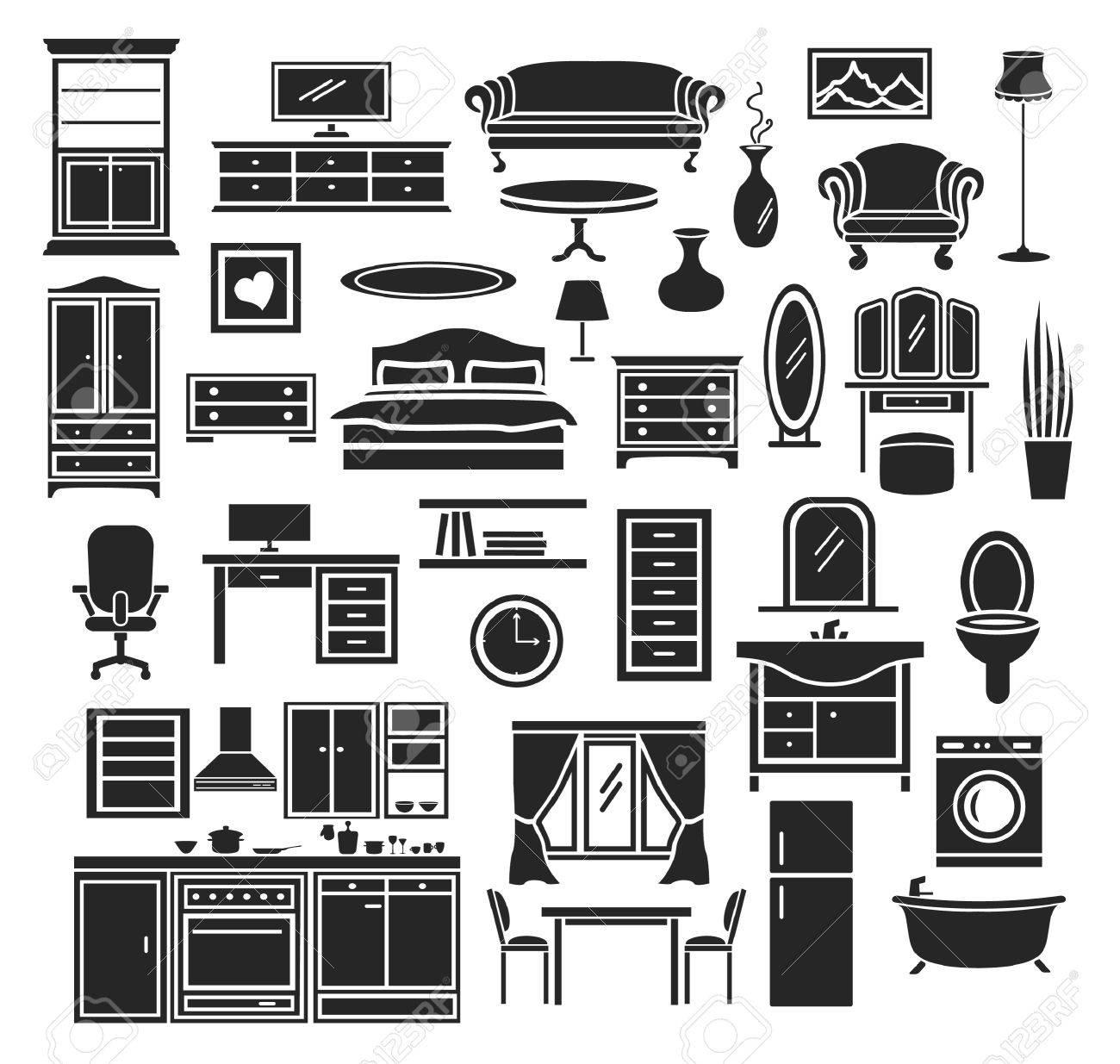 Möbel Artikel Icons Set Schlafzimmer Wohnzimmer Möbel Badezimmer