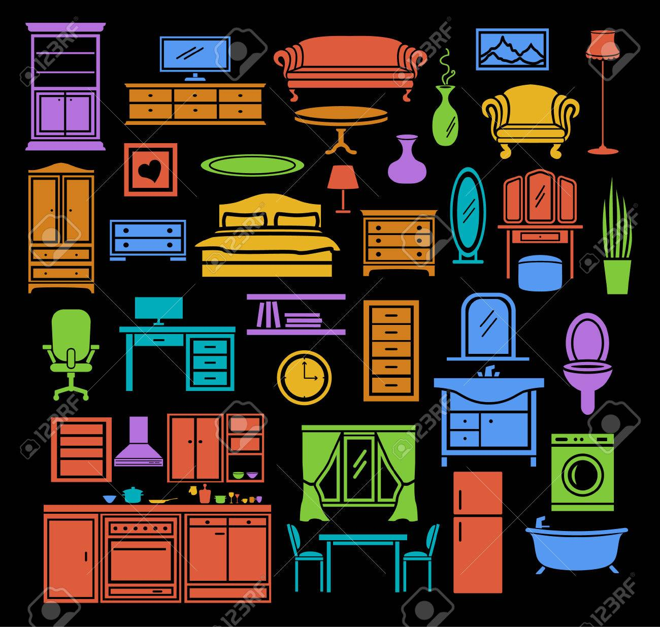 Furniture Items Icons Set In Color Bedroom Living Room Furniture  # Muebles Fiction