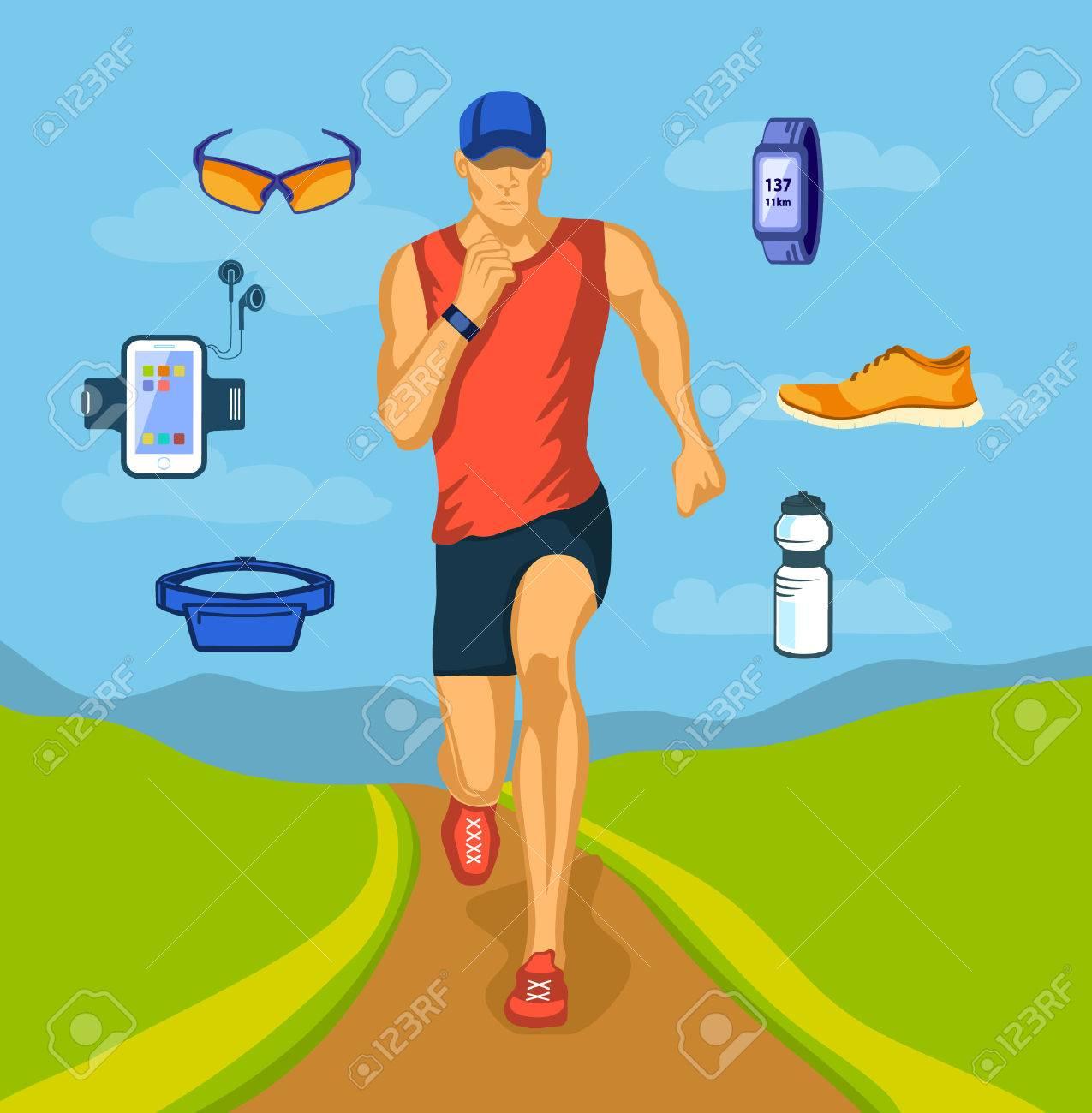 Running Man Outdoor-Vektor-Illustration. Joggingausrüstung. Zubehör ...