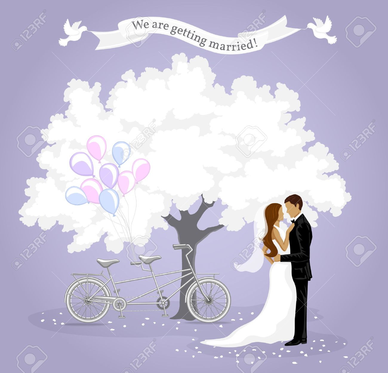 We are getting married invitation card wedding invitation template imagens we are getting married invitation card wedding invitation template announcement background with bride and groom white tree tandem bike stopboris Images