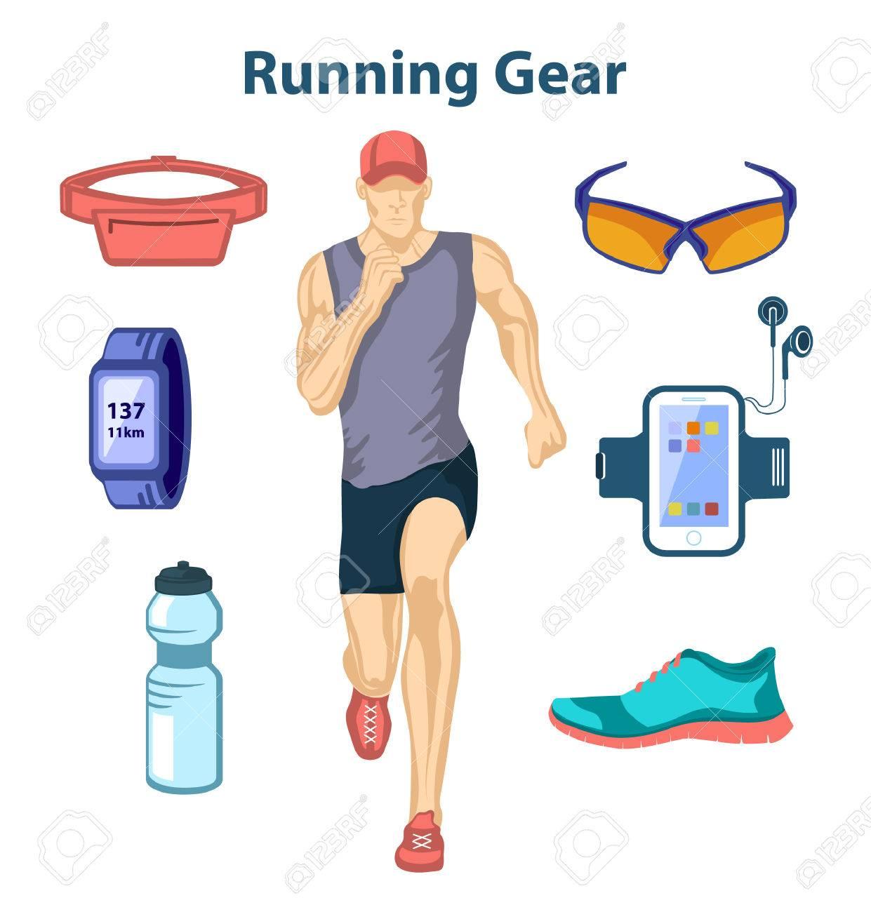 Running Man Vektor-Illustration. Joggingausrüstung. Zubehör Für Run ...