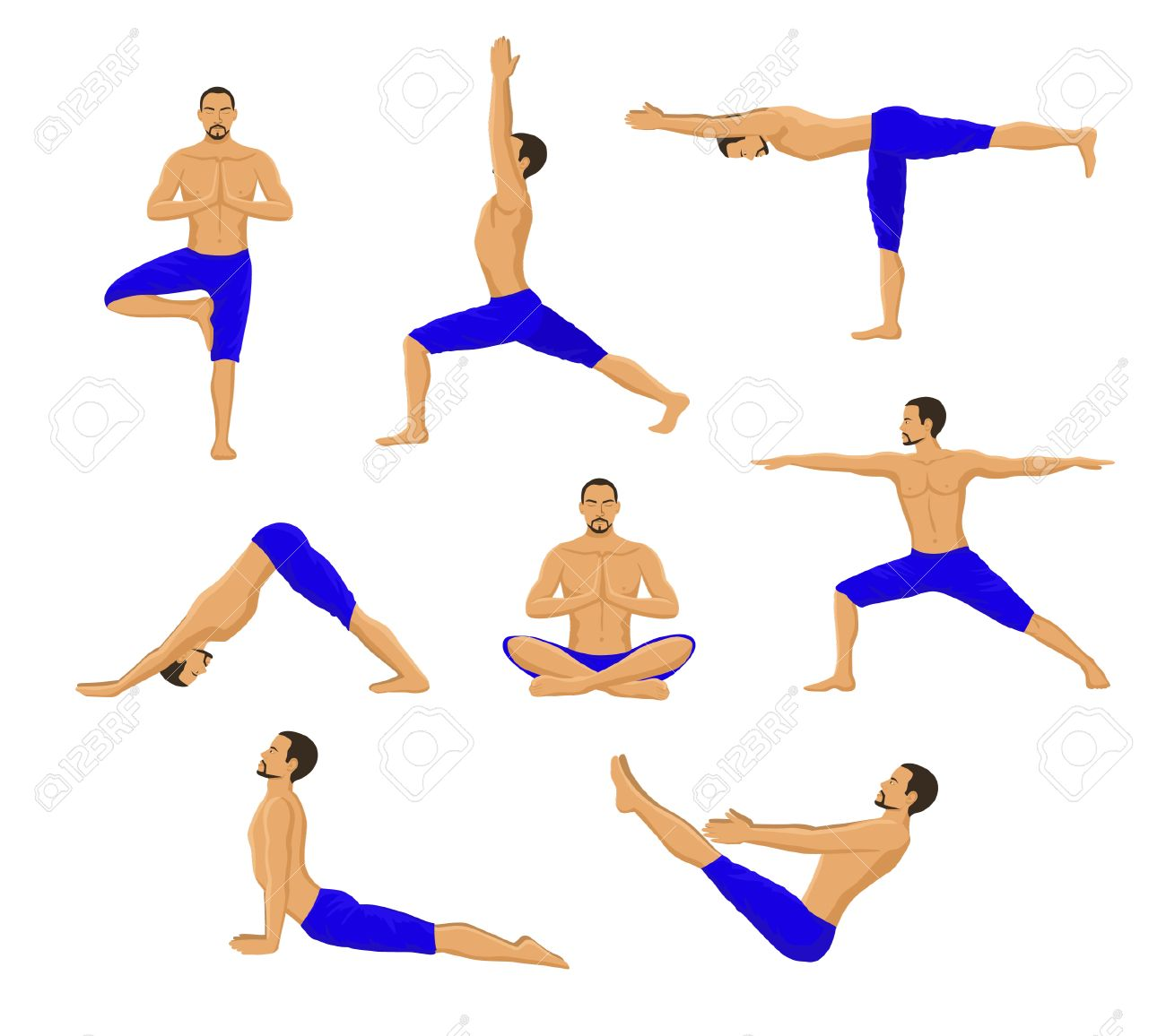Man Doing Yoga Asanas Tree Pose Warrior 1 2