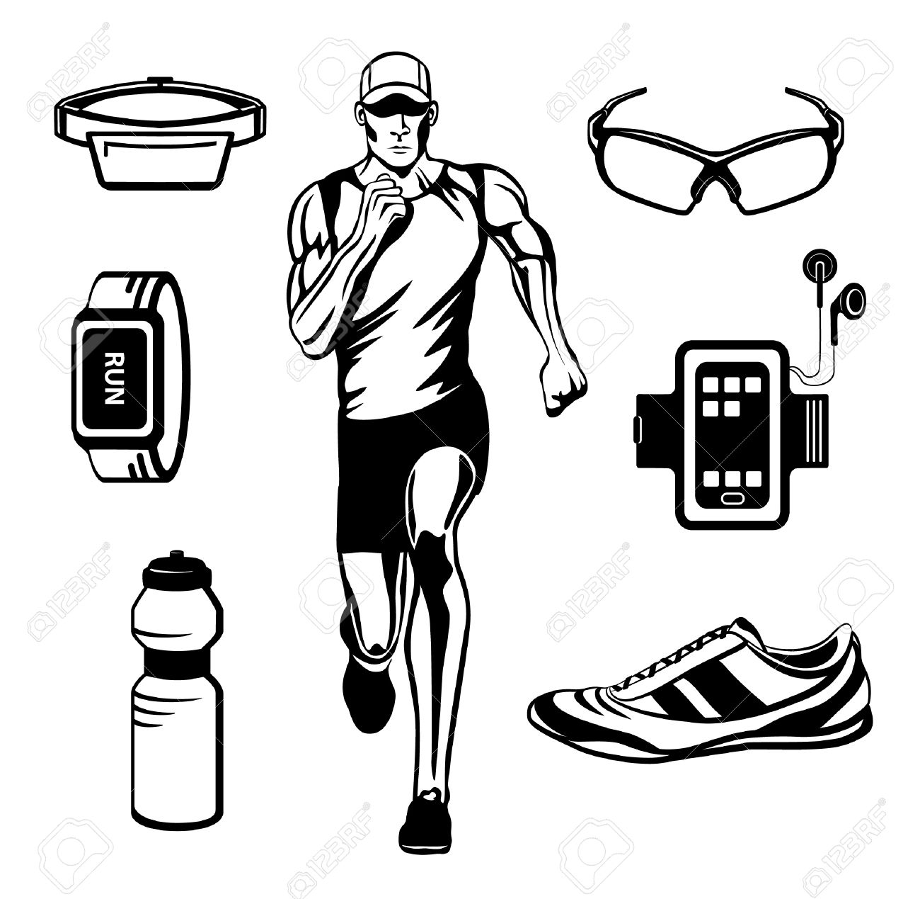 Running Man Vector Illustration Gear Accessories For Run Outdoor Cardio Workout