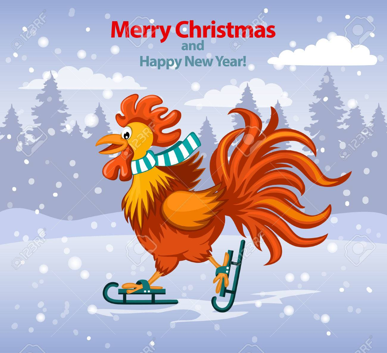 merry christmas and happy new year greeting card with cute funny rooster ice skating under the