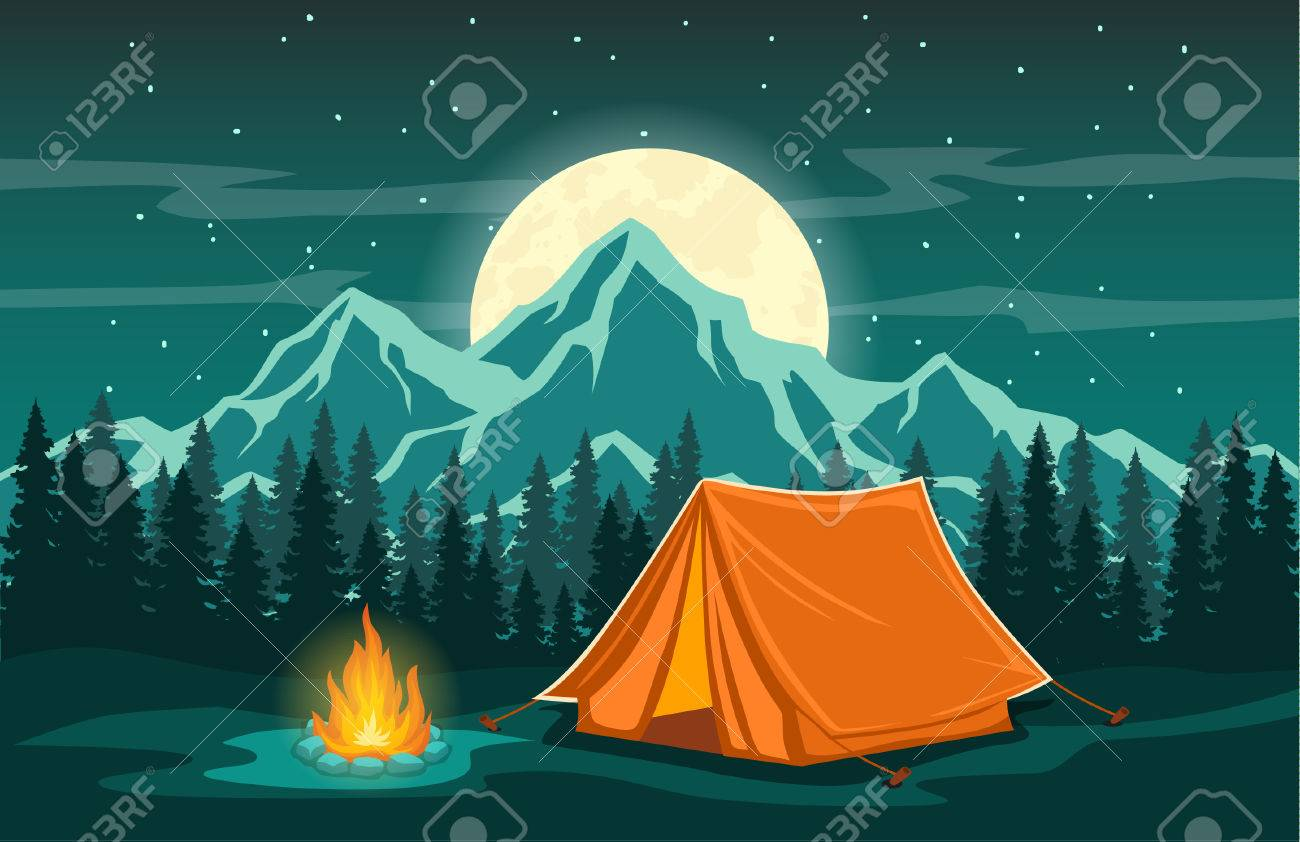 86aa8d1d4 Family Adventure Camping Evening Scene. Tent, Campfire, Pine forest and  rocky mountains background