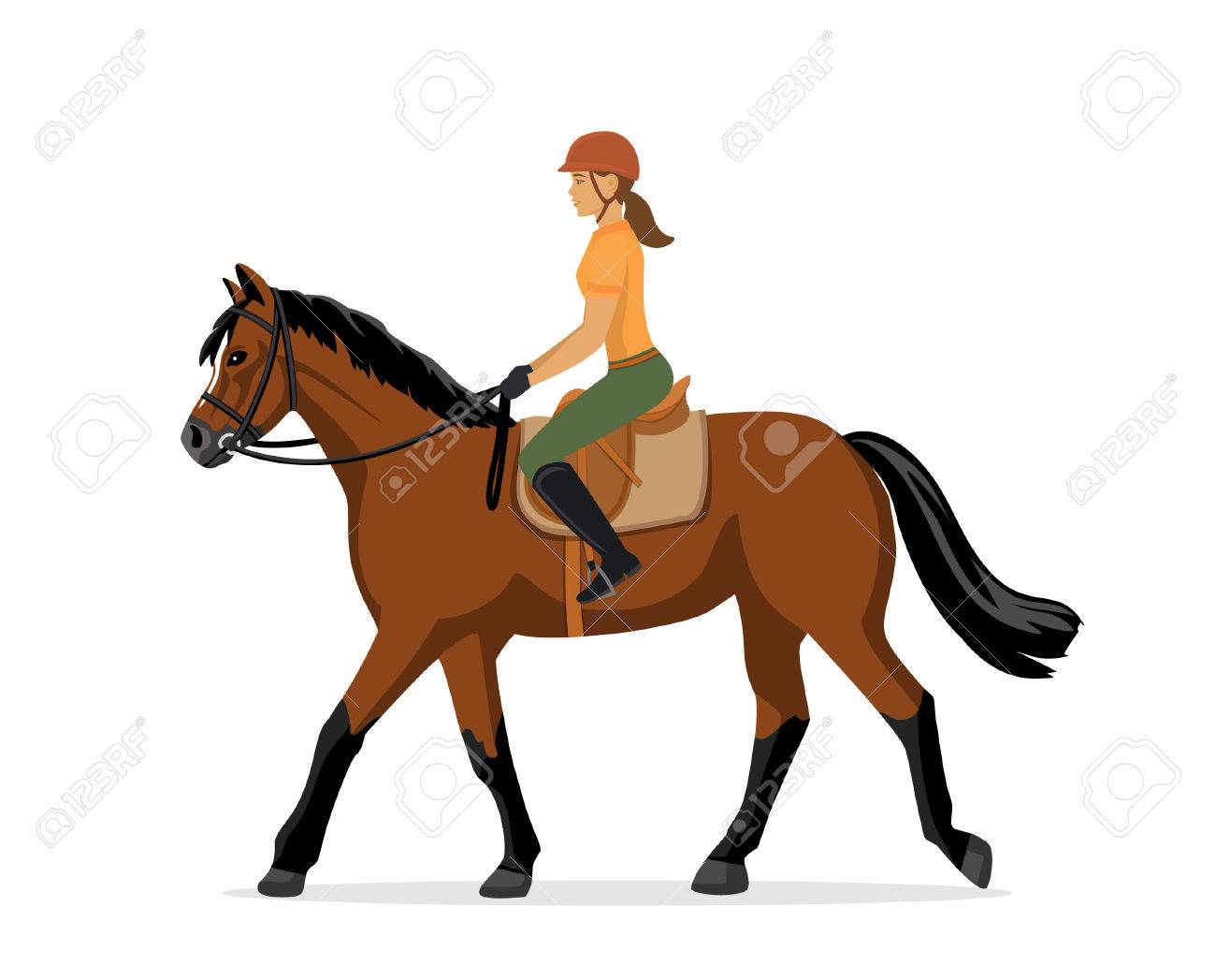 woman horseback riding equestrian sport isolated vector