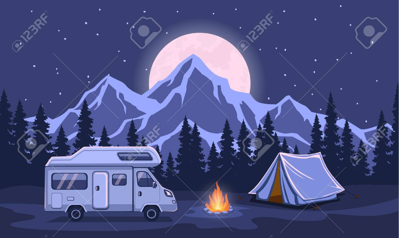 Family Adventure Camping Evening Scene Caravan Camper Motorhome Rv F Journey To Mountains Pine