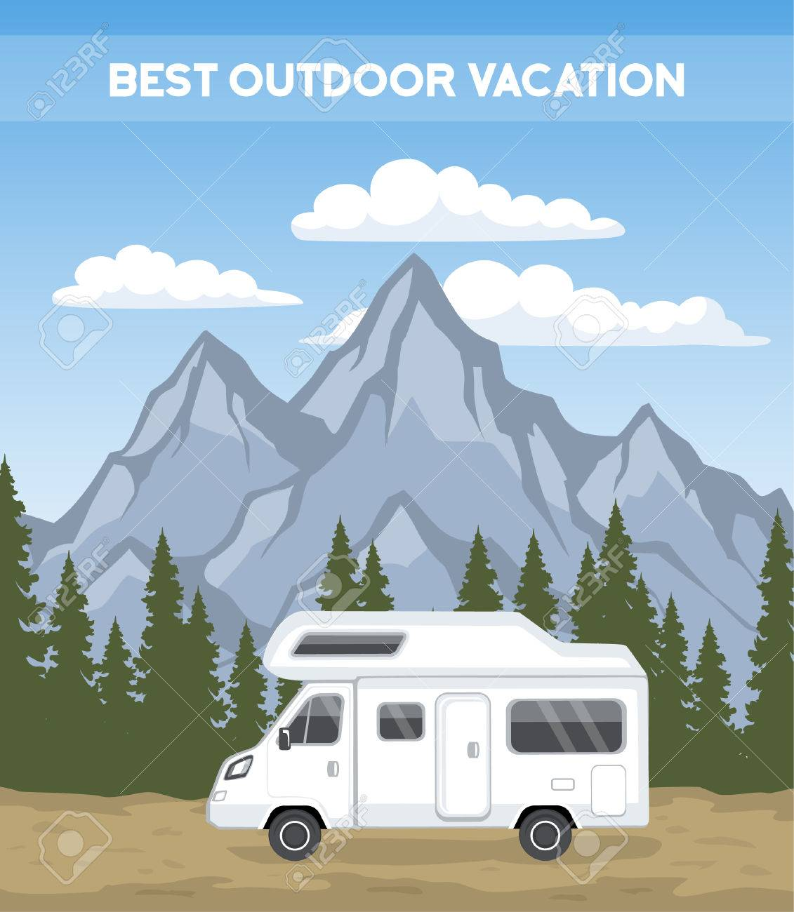 family vacation road trip poster template camper motorhome rv