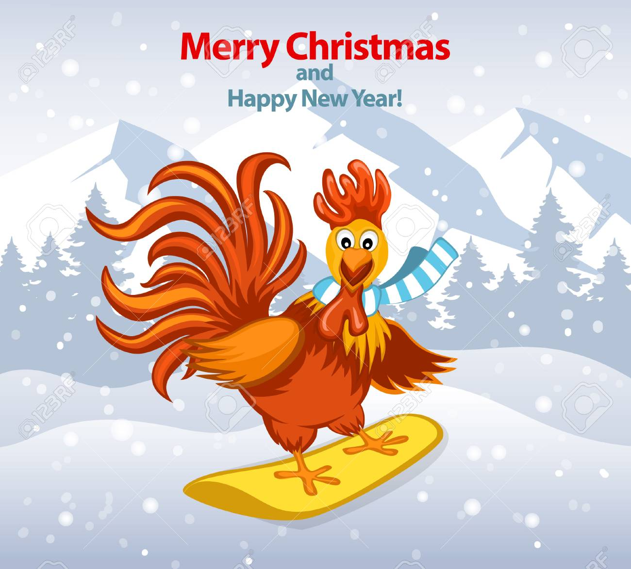 Merry christmas and happy new year greeting card with cute funny merry christmas and happy new year greeting card with cute funny rooster on snowboard vector illustration m4hsunfo