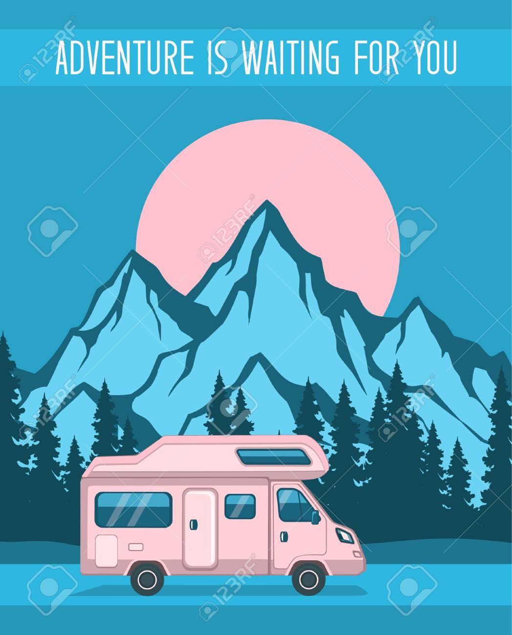 family adventure road trip poster template caravan camper motorhome