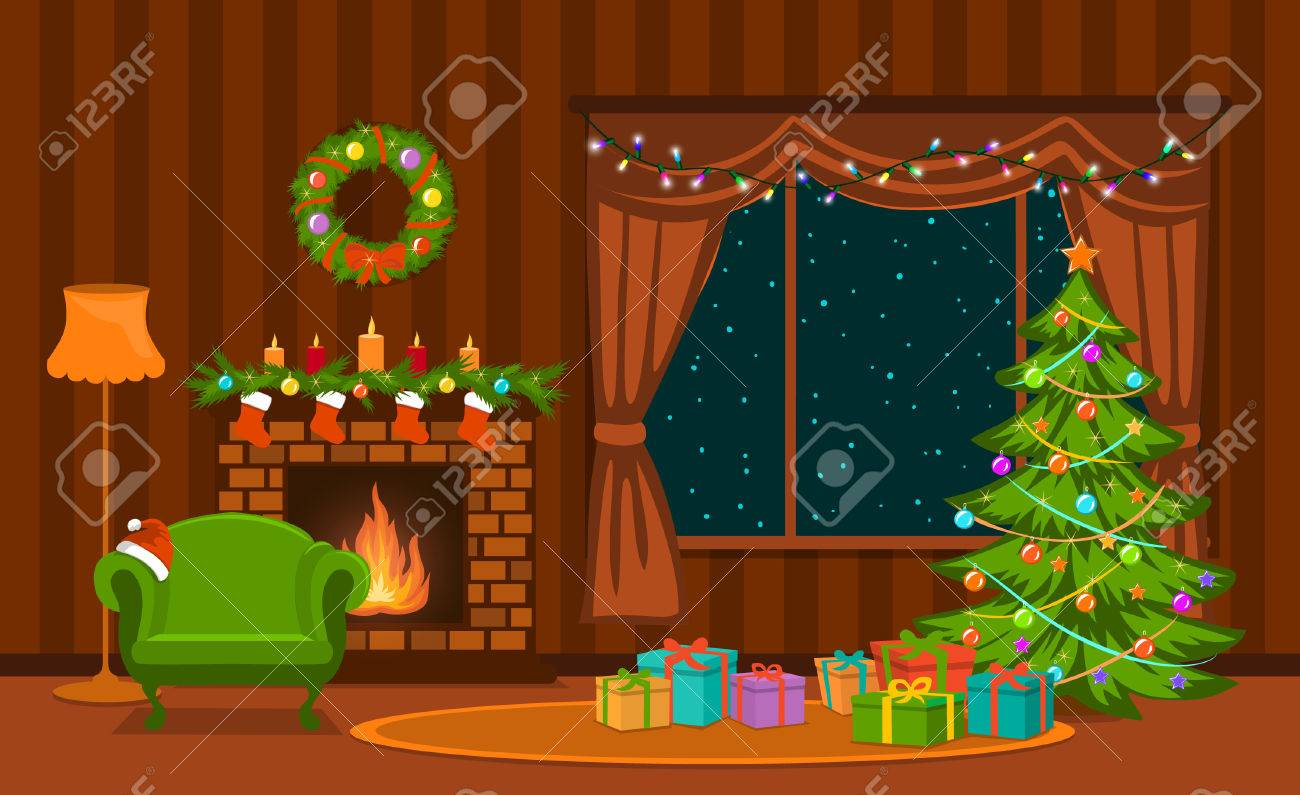christmas living room with xmas tree lights presents fireplace