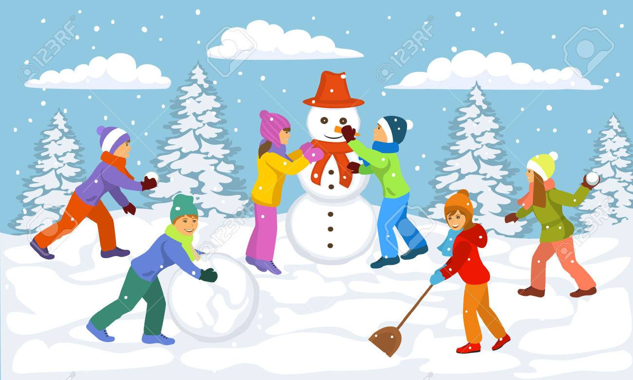 winter scene with children playing outside snow ball making rh 123rf com cartoon winter forest scene cartoon winter forest scene