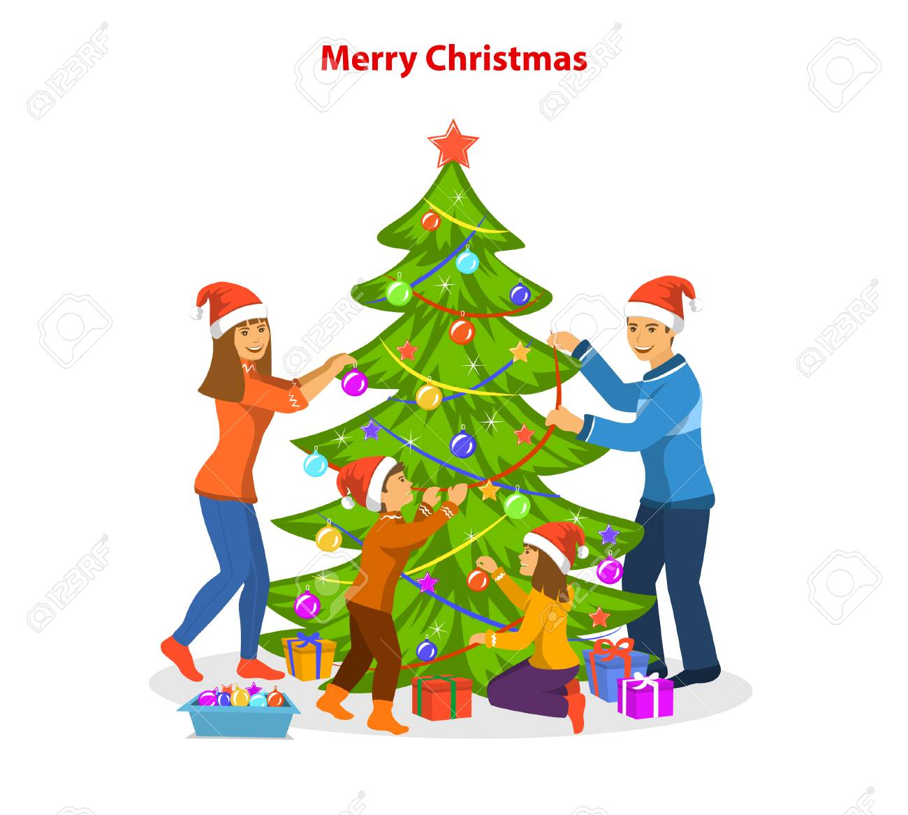 Family Decorating Together Christmas Tree Preparing To Celebrate Xmas Eve Stock Vector