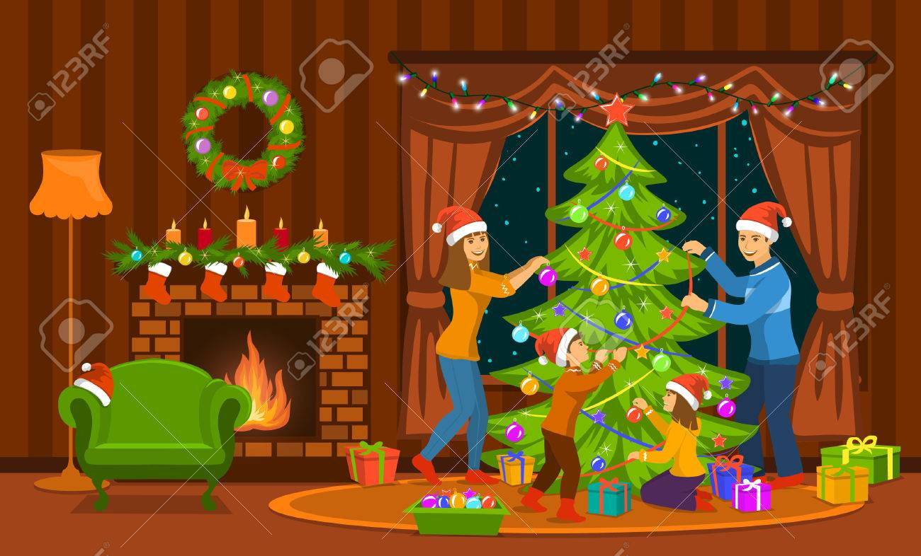 Christmas Fireplace Scene Clipart.Family Decorating Christmas Tree In Living Room At Home Scene