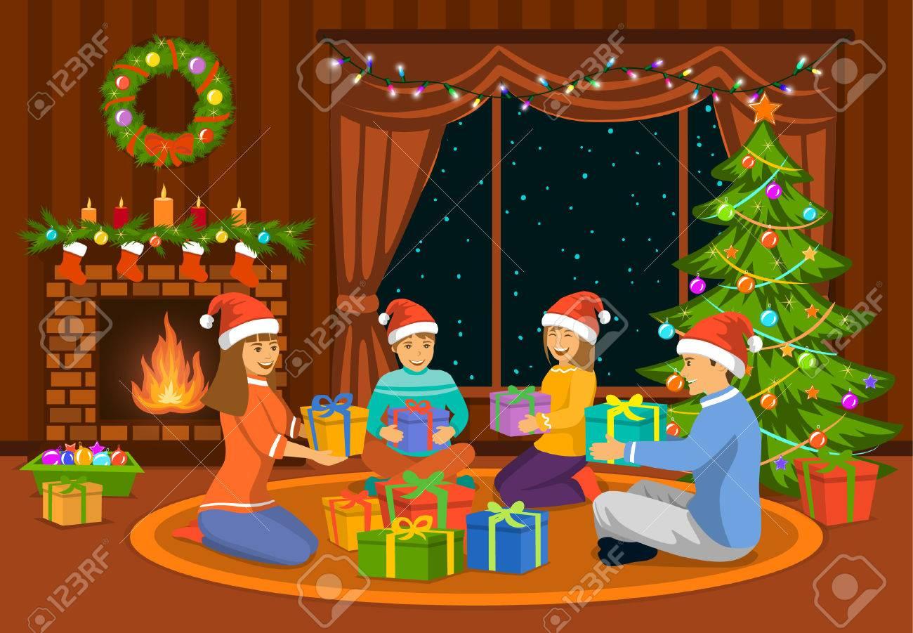 Glückliche Familie, Ein Mann, Eine Frau Eltern Und Kinder Der Frohen ...