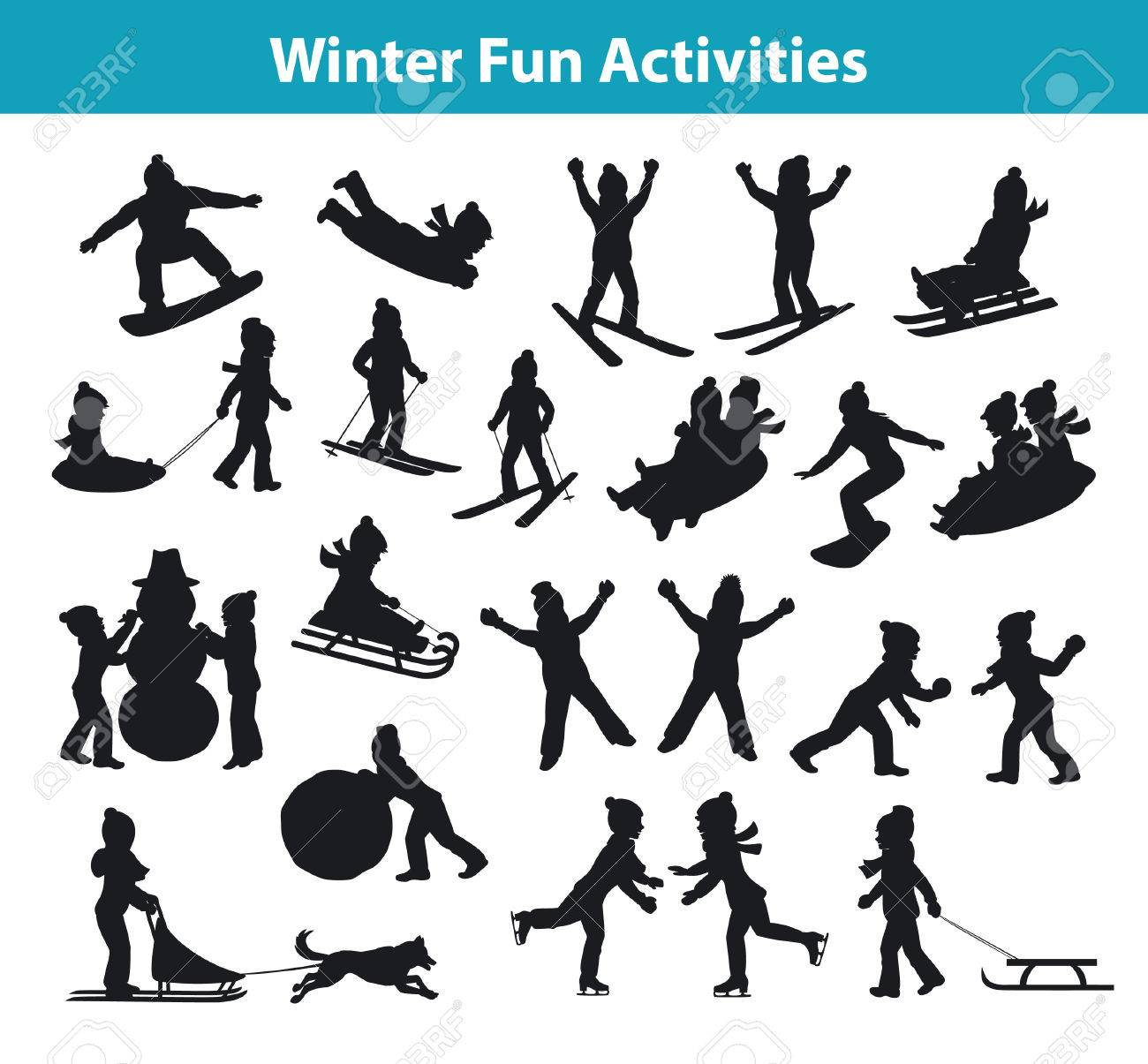 Children's Winter fun activities in ice and snow silhouette set collection, kids palying snowballs, making snowman, sledding downhill, rolling snow, skating, snowboarding, skiing, riding on sleigh pulled by husky dog and lying on snow - 66467150