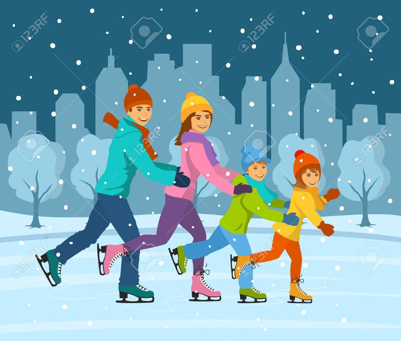 Feliz Familia Sonriente, Mujer, Hombre, Niño Y Niña De Patinaje ...